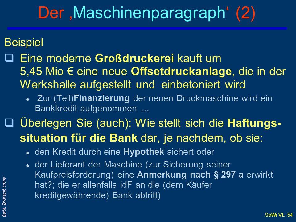 SoWi VL- 53 Barta: Zivilrecht online Der Maschinenparagraph (1) qSpezialbestimmung für ETV an Maschinen qNormaler ETV (ohne Anmerkung) greift nämlich gegenüber Hypothekargläubigern nicht .