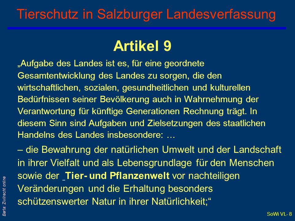 SoWi VL- 7 Barta: Zivilrecht online § 285a ABGB: Tiere sind keine Sachen...