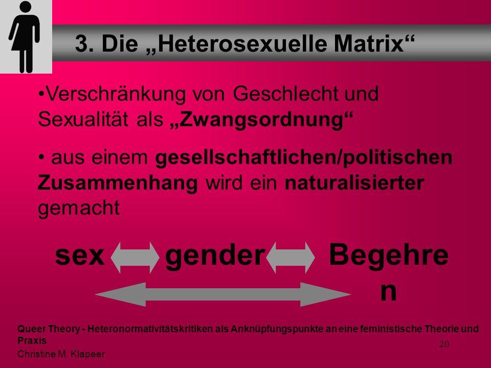 19 Damit ist die Heterosexuelle Matrix ein Modell, das folgendes unterstellt: Damit die Körper eine Einheit bilden und sinnvoll sind, muss es ein fest