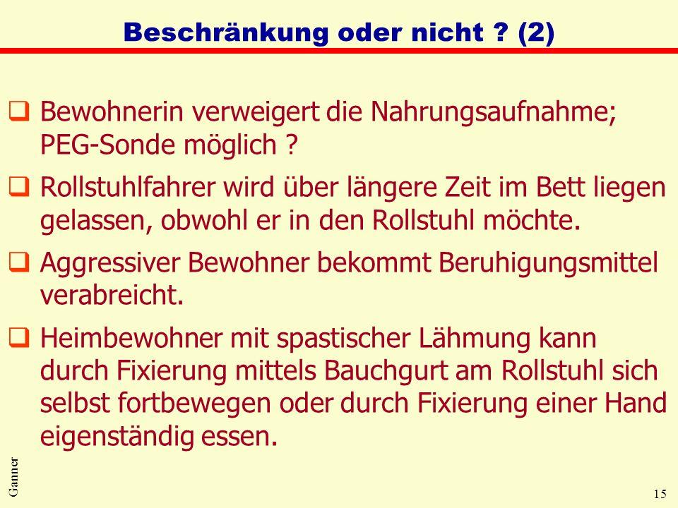 15 Ganner Beschränkung oder nicht ? (2) qBewohnerin verweigert die Nahrungsaufnahme; PEG-Sonde möglich ? qRollstuhlfahrer wird über längere Zeit im Be