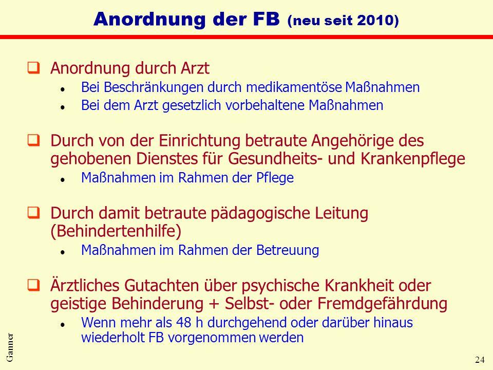 24 Ganner Anordnung der FB (neu seit 2010) qAnordnung durch Arzt l Bei Beschränkungen durch medikamentöse Maßnahmen l Bei dem Arzt gesetzlich vorbehal