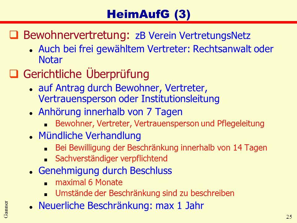25 Ganner HeimAufG (3) qBewohnervertretung: zB Verein VertretungsNetz l Auch bei frei gewähltem Vertreter: Rechtsanwalt oder Notar qGerichtliche Überp