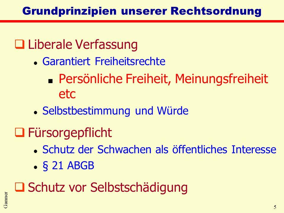 5 Ganner Grundprinzipien unserer Rechtsordnung qLiberale Verfassung l Garantiert Freiheitsrechte Persönliche Freiheit, Meinungsfreiheit etc l Selbstbe