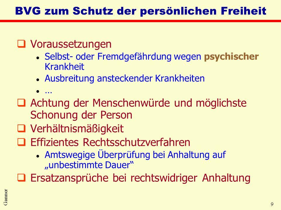 9 Ganner BVG zum Schutz der persönlichen Freiheit qVoraussetzungen l Selbst- oder Fremdgefährdung wegen psychischer Krankheit l Ausbreitung ansteckend