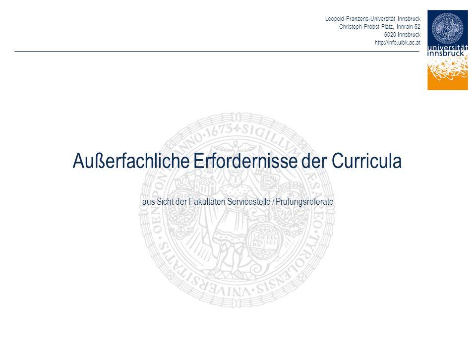Leopold-Franzens-Universität Innsbruck Christoph-Probst-Platz, Innrain 52 6020 Innsbruck http://info.uibk.ac.at Außerfachliche Erfordernisse der Curri
