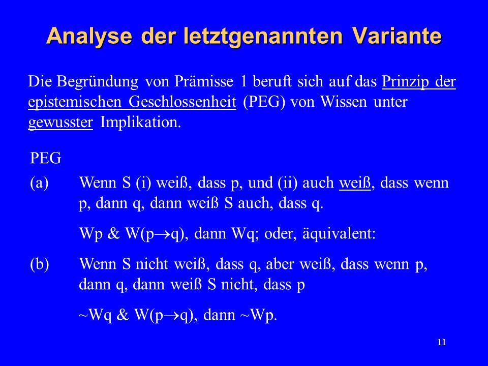 11 Die Begründung von Prämisse 1 beruft sich auf das Prinzip der epistemischen Geschlossenheit (PEG) von Wissen unter gewusster Implikation. Analyse d