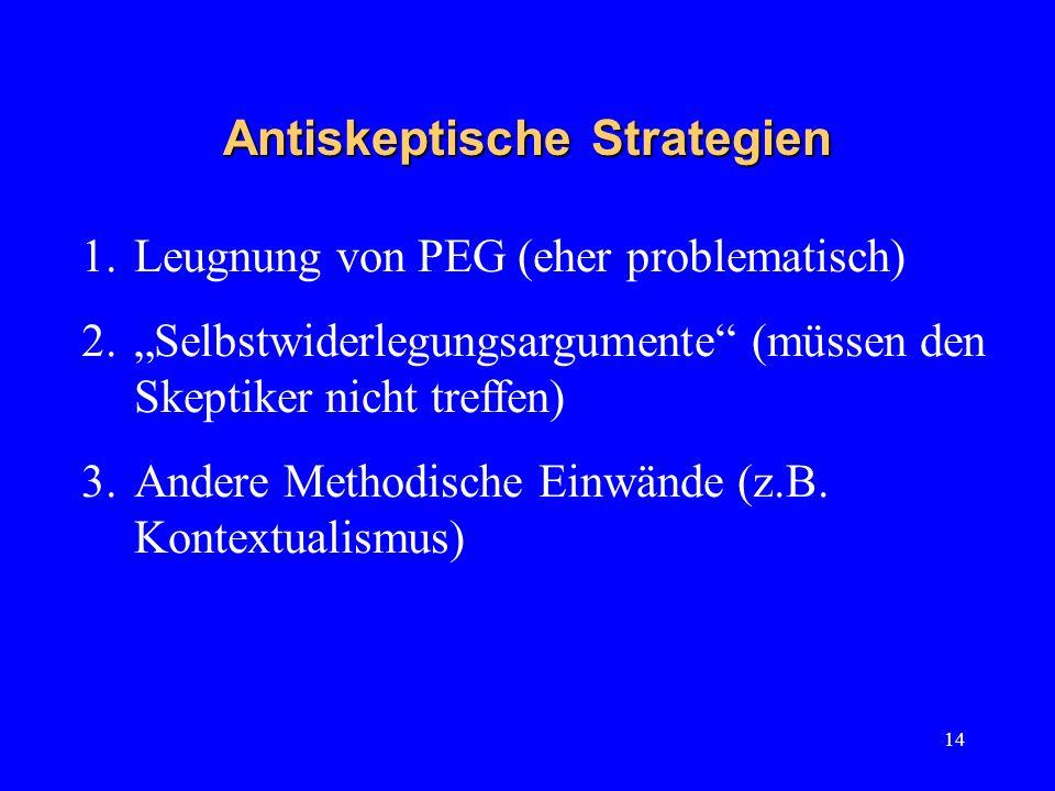 14 Antiskeptische Strategien 1.Leugnung von PEG (eher problematisch) 2.Selbstwiderlegungsargumente (müssen den Skeptiker nicht treffen) 3.Andere Metho
