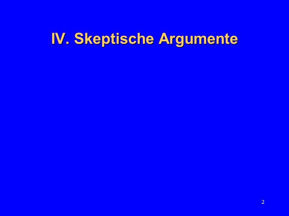 2 IV. Skeptische Argumente