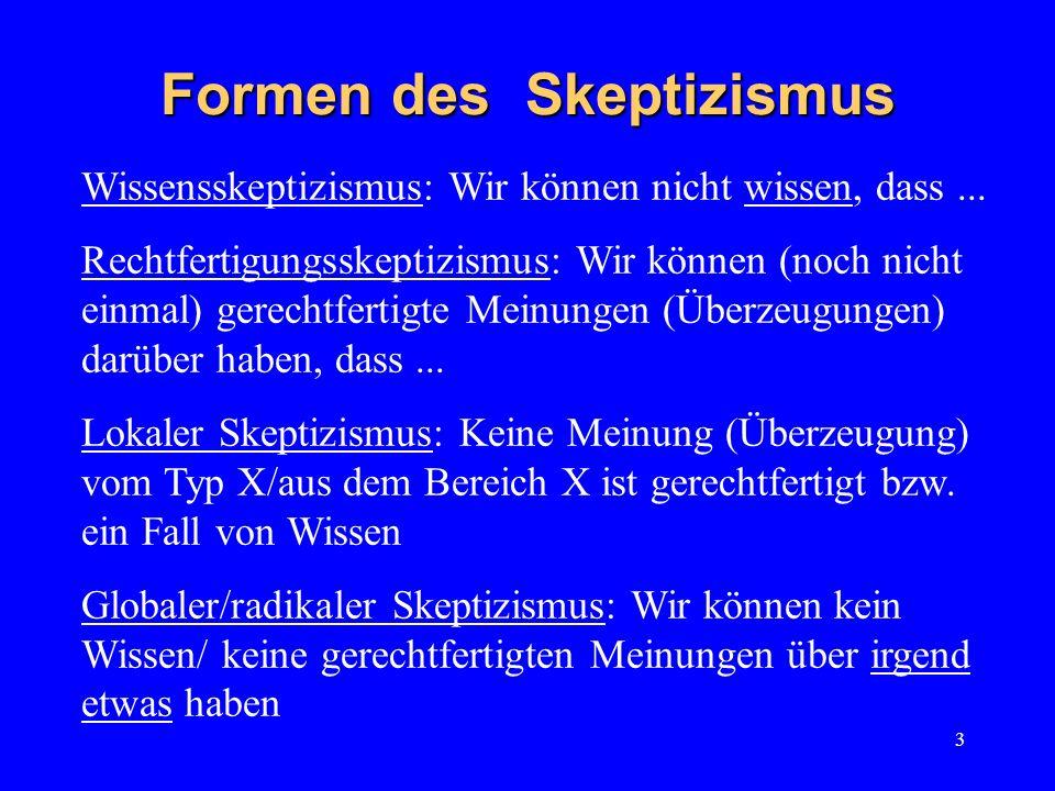 3 Formen des Skeptizismus Wissensskeptizismus: Wir können nicht wissen, dass... Rechtfertigungsskeptizismus: Wir können (noch nicht einmal) gerechtfer