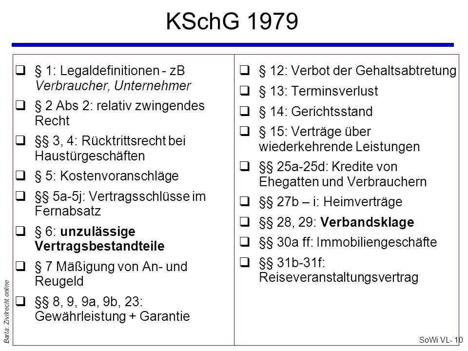 SoWi VL- 10 Barta: Zivilrecht online KSchG 1979 q§ 1: Legaldefinitionen - zB Verbraucher, Unternehmer q§ 2 Abs 2: relativ zwingendes Recht q§§ 3, 4: R