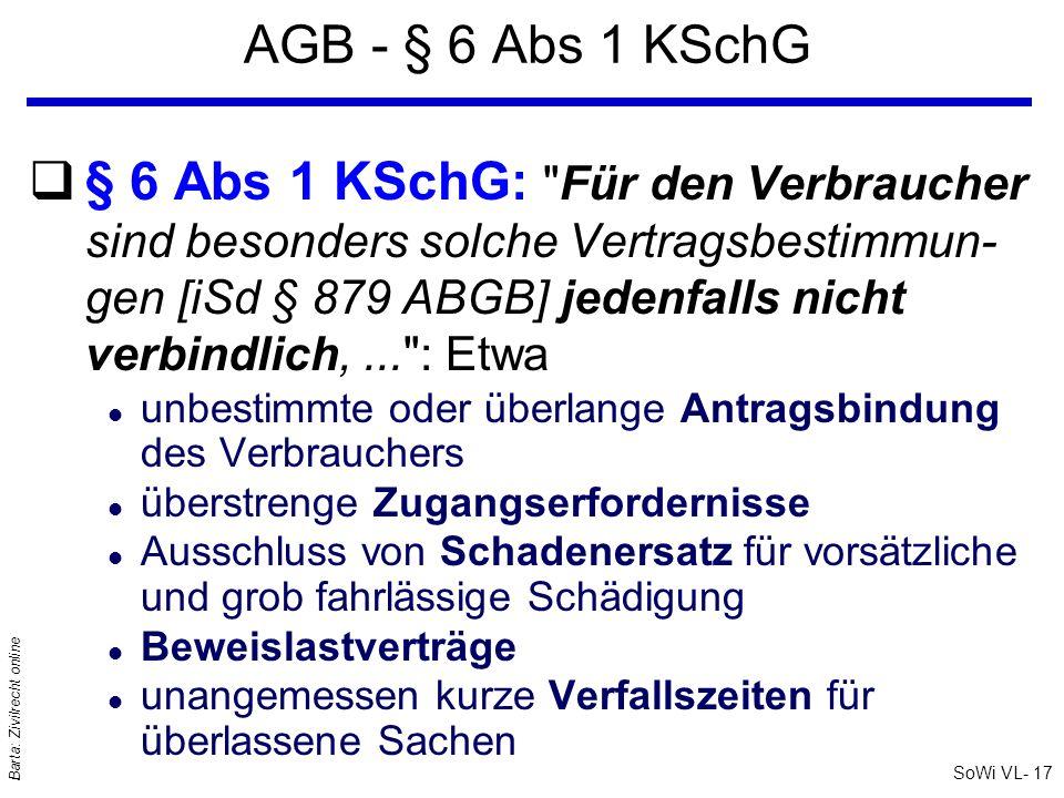 SoWi VL- 17 Barta: Zivilrecht online AGB - § 6 Abs 1 KSchG q§ 6 Abs 1 KSchG: