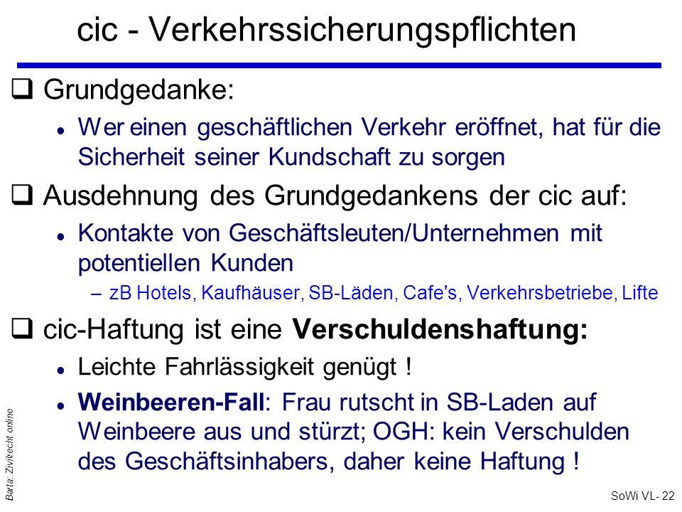 SoWi VL- 22 Barta: Zivilrecht online cic - Verkehrssicherungspflichten qGrundgedanke: l Wer einen geschäftlichen Verkehr eröffnet, hat für die Sicherh
