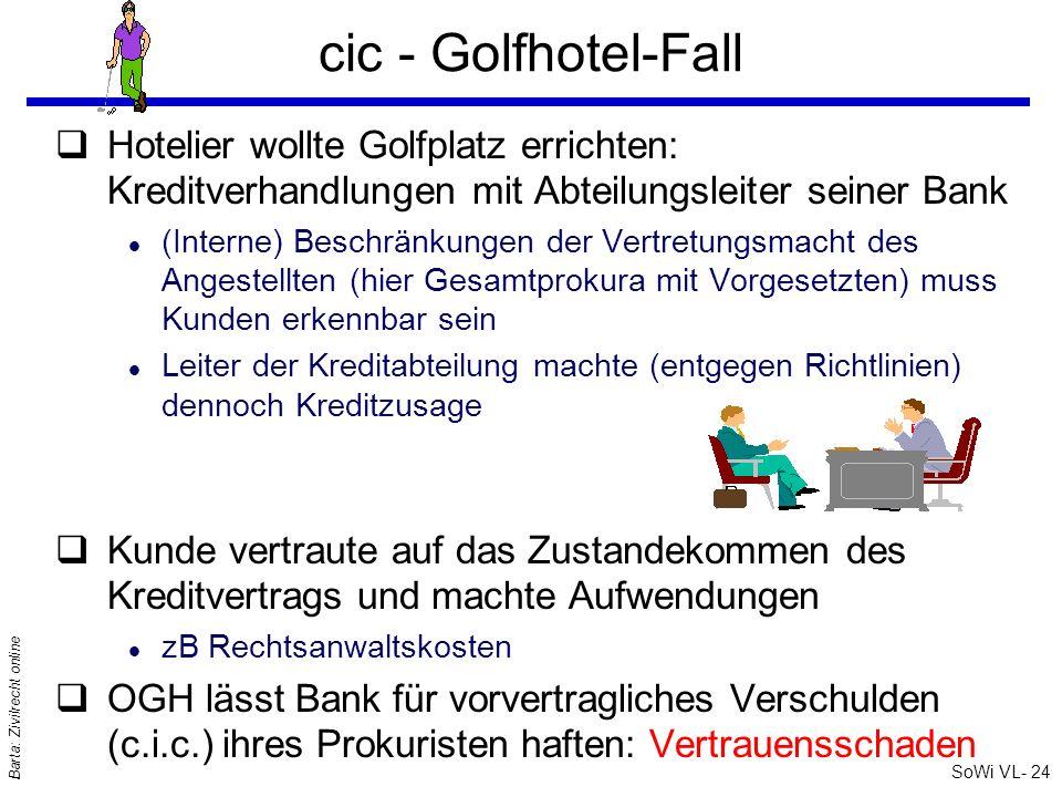 SoWi VL- 24 Barta: Zivilrecht online cic - Golfhotel-Fall qHotelier wollte Golfplatz errichten: Kreditverhandlungen mit Abteilungsleiter seiner Bank l