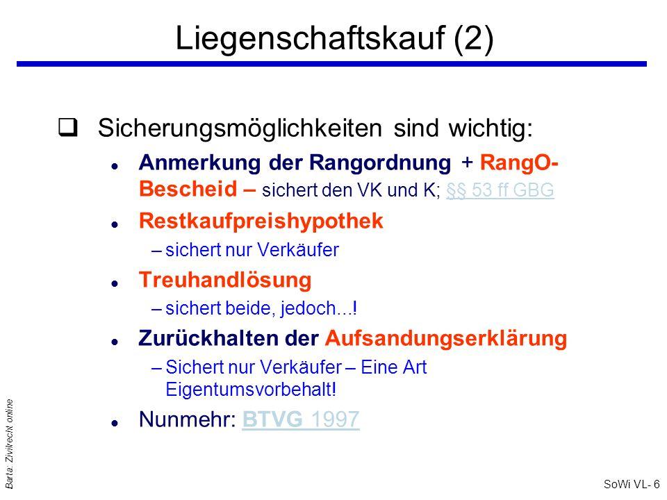 SoWi VL- 6 Barta: Zivilrecht online Liegenschaftskauf (2) qSicherungsmöglichkeiten sind wichtig: l Anmerkung der Rangordnung + RangO- Bescheid – siche