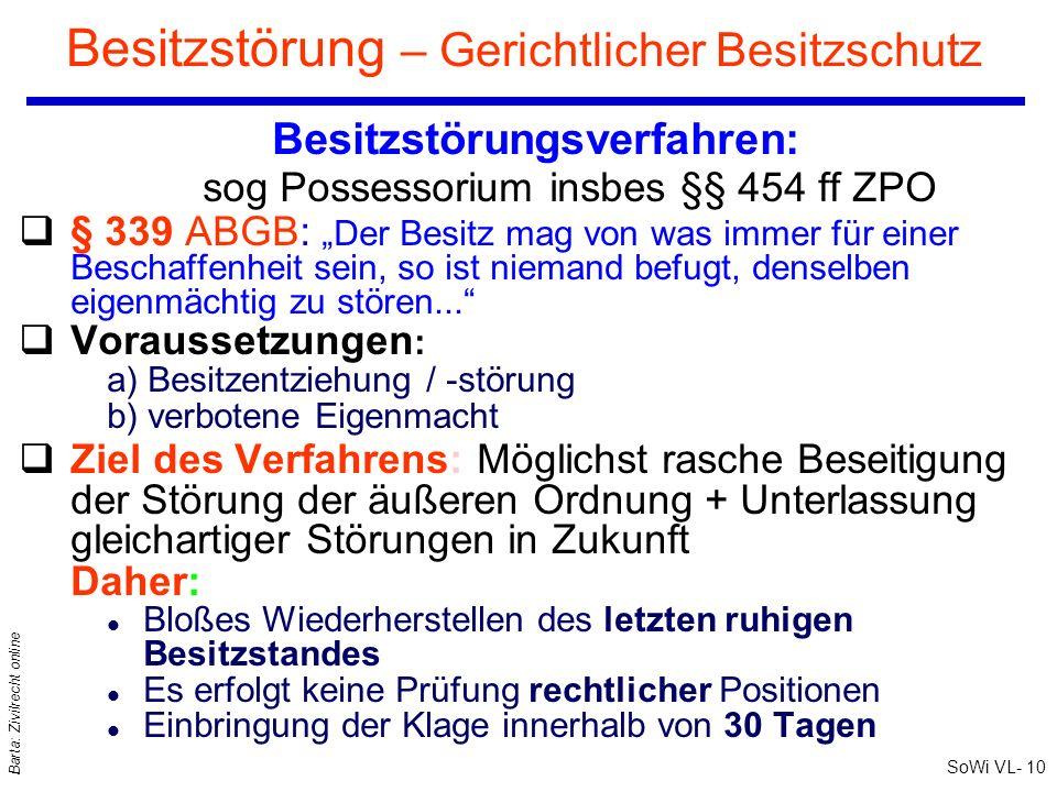 SoWi VL- 10 Barta: Zivilrecht online Besitzstörung – Gerichtlicher Besitzschutz Besitzstörungsverfahren: sog Possessorium insbes §§ 454 ff ZPO q§ 339