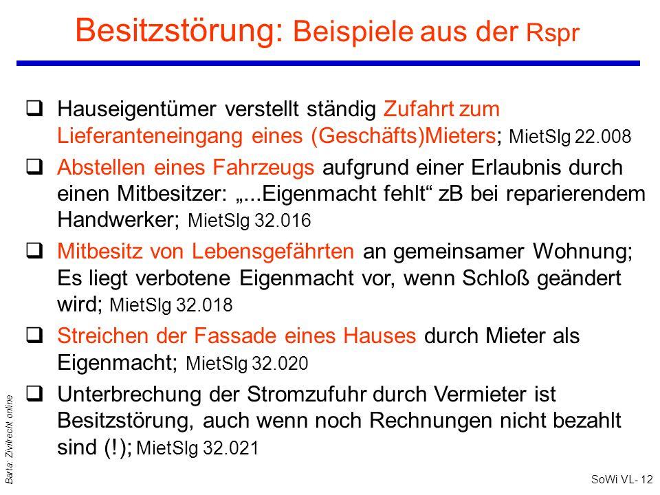 SoWi VL- 12 Barta: Zivilrecht online Besitzstörung: Beispiele aus der Rspr qHauseigentümer verstellt ständig Zufahrt zum Lieferanteneingang eines (Ges