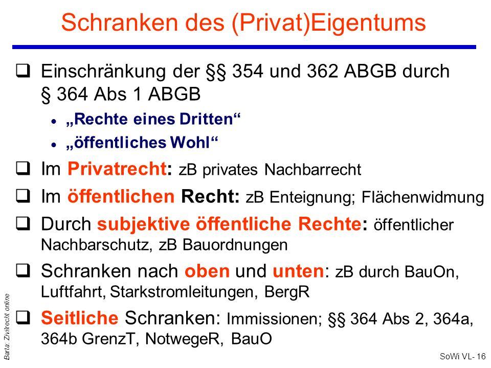 SoWi VL- 16 Barta: Zivilrecht online Schranken des (Privat)Eigentums qEinschränkung der §§ 354 und 362 ABGB durch § 364 Abs 1 ABGB l Rechte eines Drit