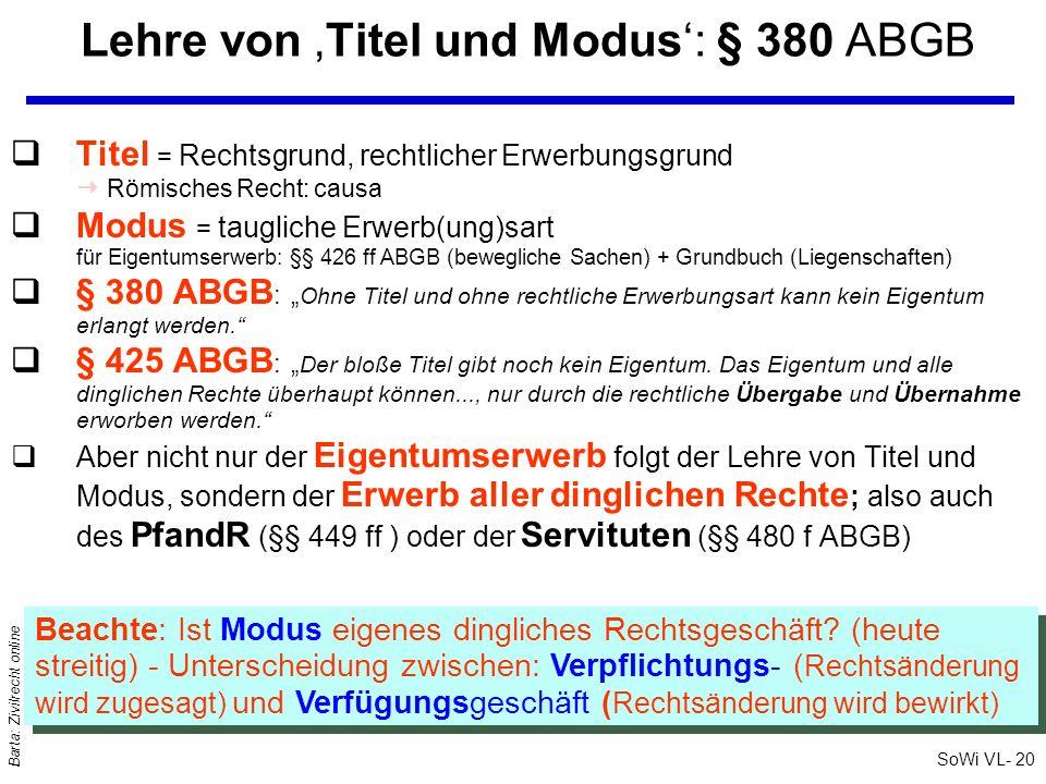 SoWi VL- 20 Barta: Zivilrecht online qTitel = Rechtsgrund, rechtlicher Erwerbungsgrund Römisches Recht: causa qModus = taugliche Erwerb(ung)sart für E