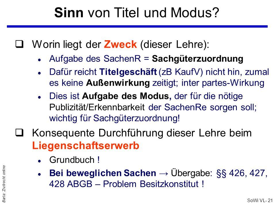 SoWi VL- 21 Barta: Zivilrecht online Sinn von Titel und Modus? qWorin liegt der Zweck (dieser Lehre): l Aufgabe des SachenR = Sachgüterzuordnung l Daf