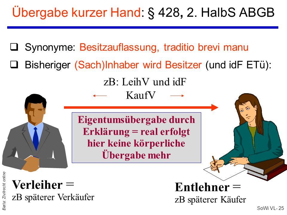 SoWi VL- 25 Barta: Zivilrecht online Übergabe kurzer Hand: § 428, 2. HalbS ABGB zB: LeihV und idF KaufV Eigentumsübergabe durch Erklärung = real erfol