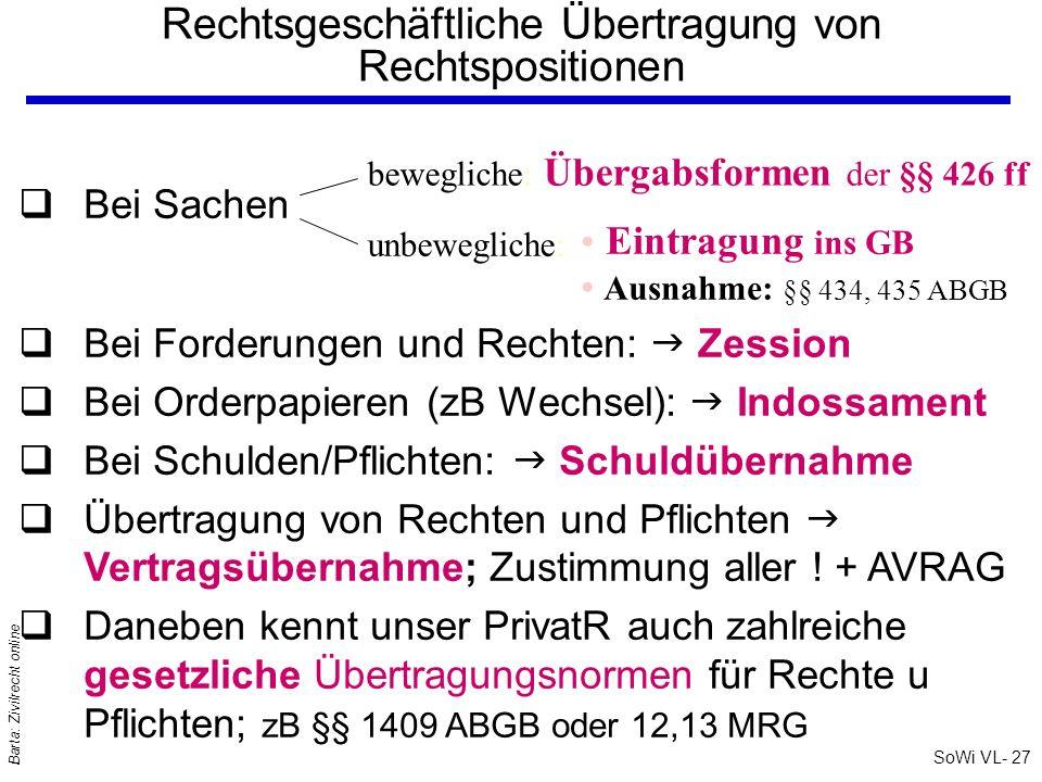 SoWi VL- 27 Barta: Zivilrecht online Rechtsgeschäftliche Übertragung von Rechtspositionen unbewegliche: Ausnahme: §§ 434, 435 ABGB qBei Sachen qBei Fo