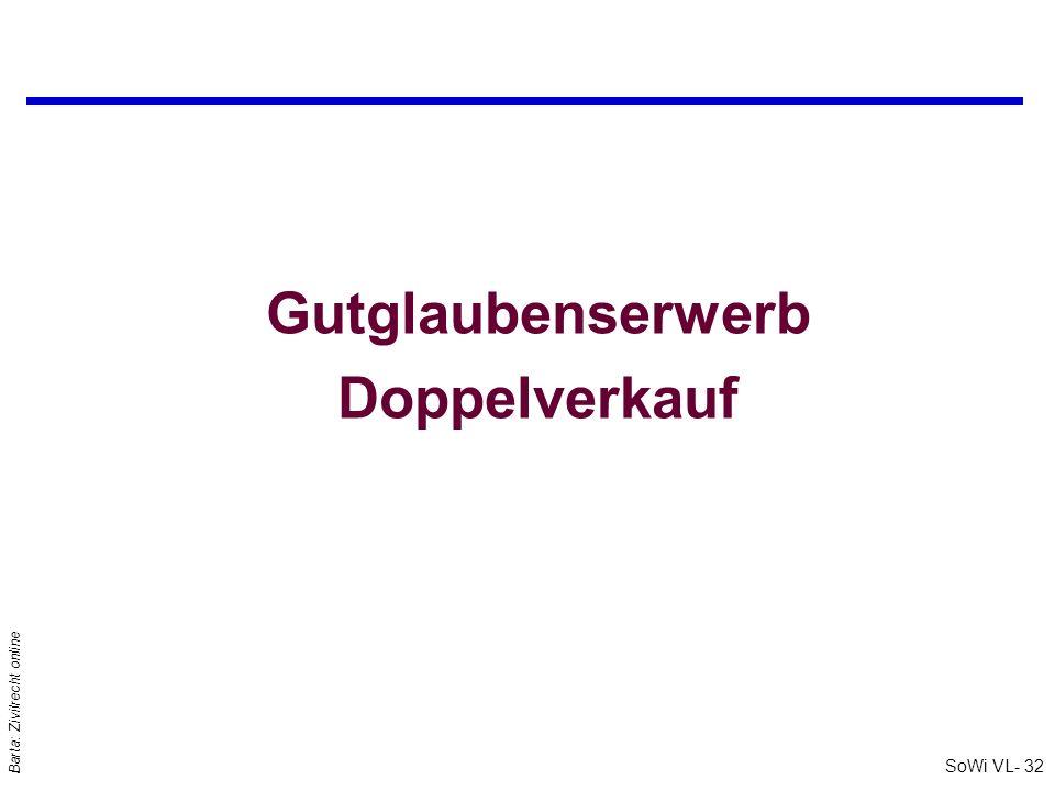 SoWi VL- 32 Barta: Zivilrecht online Gutglaubenserwerb Doppelverkauf