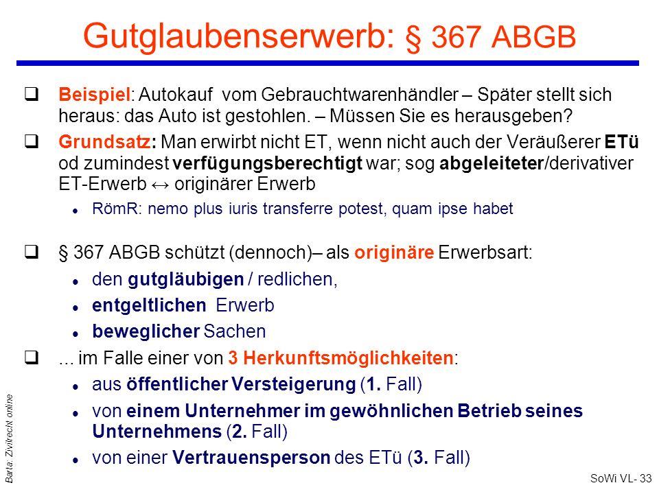 SoWi VL- 33 Barta: Zivilrecht online Gutglaubenserwerb: § 367 ABGB qBeispiel: Autokauf vom Gebrauchtwarenhändler – Später stellt sich heraus: das Auto