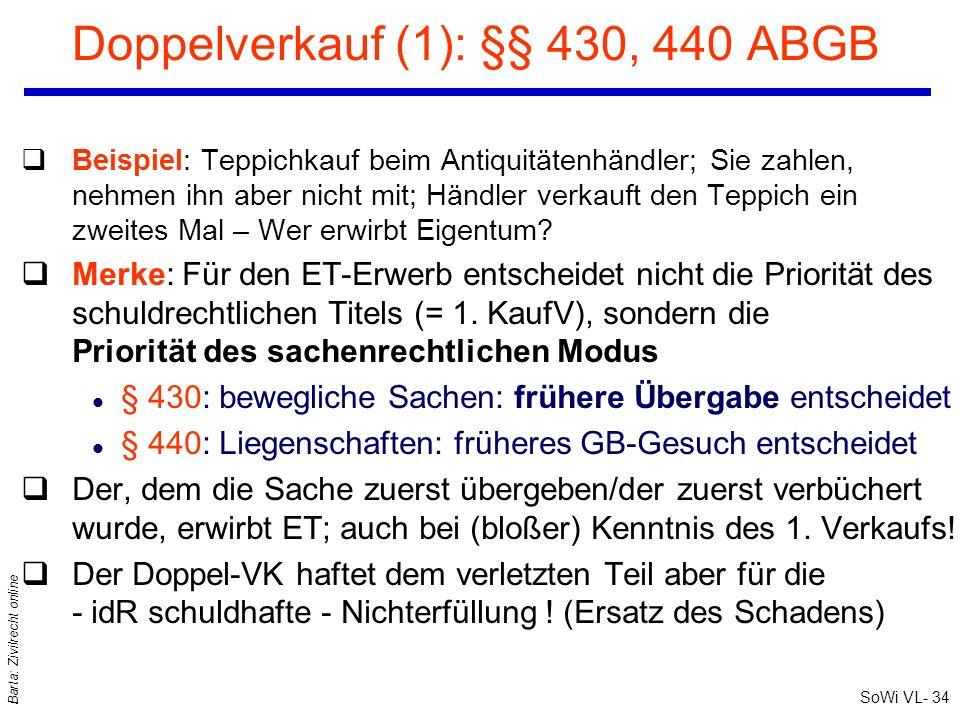 SoWi VL- 34 Barta: Zivilrecht online Doppelverkauf (1): §§ 430, 440 ABGB qBeispiel: Teppichkauf beim Antiquitätenhändler; Sie zahlen, nehmen ihn aber
