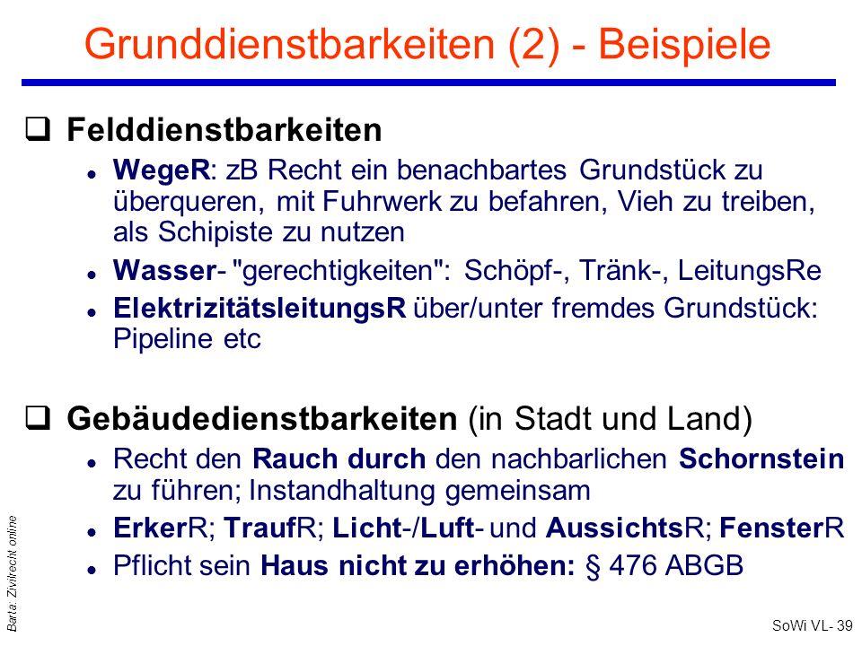SoWi VL- 39 Barta: Zivilrecht online Grunddienstbarkeiten (2) - Beispiele qFelddienstbarkeiten l WegeR: zB Recht ein benachbartes Grundstück zu überqu