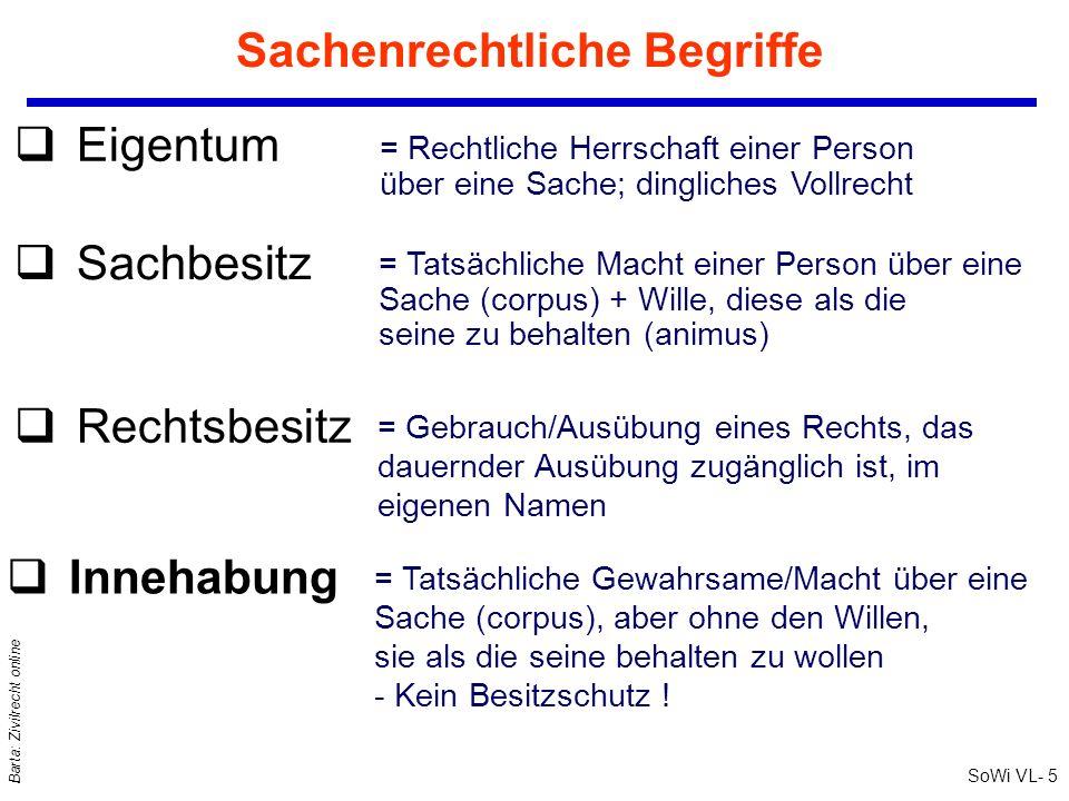 SoWi VL- 5 Barta: Zivilrecht online Sachenrechtliche Begriffe qIqInnehabung qEqEigentum = Rechtliche Herrschaft einer Person über eine Sache; dinglich