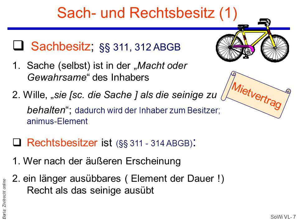 SoWi VL- 7 Barta: Zivilrecht online Sach- und Rechtsbesitz (1) q Sachbesitz; §§ 311, 312 ABGB 1.Sache (selbst) ist in der Macht oder Gewahrsame des In