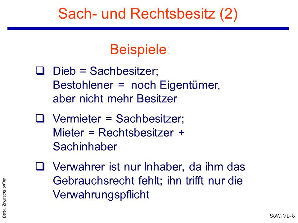 SoWi VL- 8 Barta: Zivilrecht online Sach- und Rechtsbesitz (2) Beispiele: qDieb = Sachbesitzer; Bestohlener = noch Eigentümer, aber nicht mehr Besitze