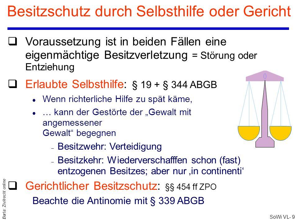 SoWi VL- 9 Barta: Zivilrecht online Besitzschutz durch Selbsthilfe oder Gericht qVoraussetzung ist in beiden Fällen eine eigenmächtige Besitzverletzun