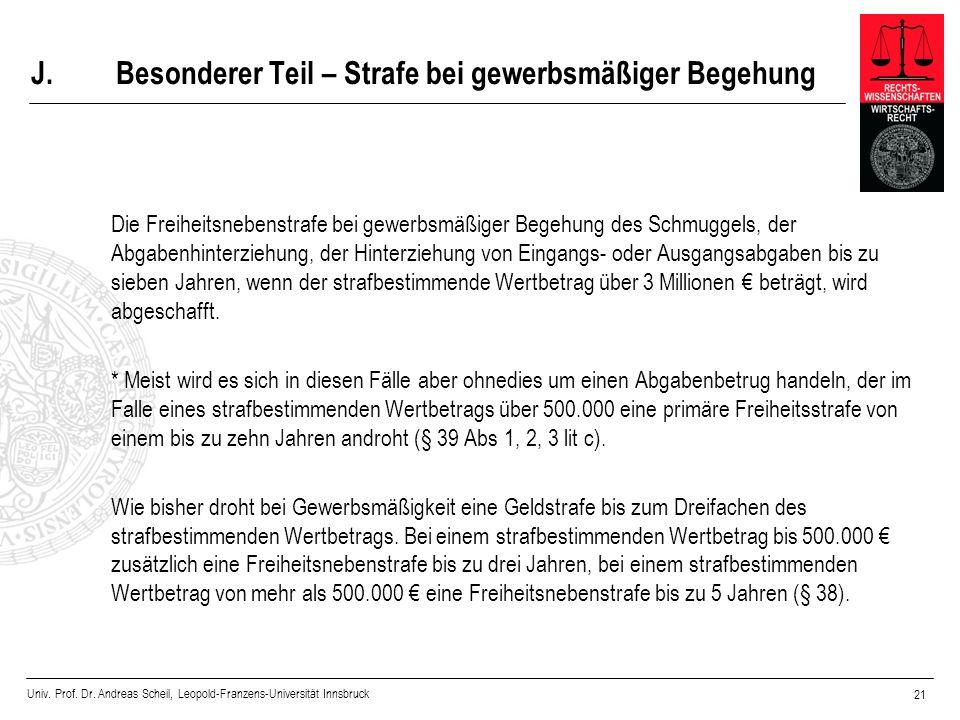 Univ. Prof. Dr. Andreas Scheil, Leopold-Franzens-Universität Innsbruck 21 J.Besonderer Teil – Strafe bei gewerbsmäßiger Begehung Die Freiheitsnebenstr