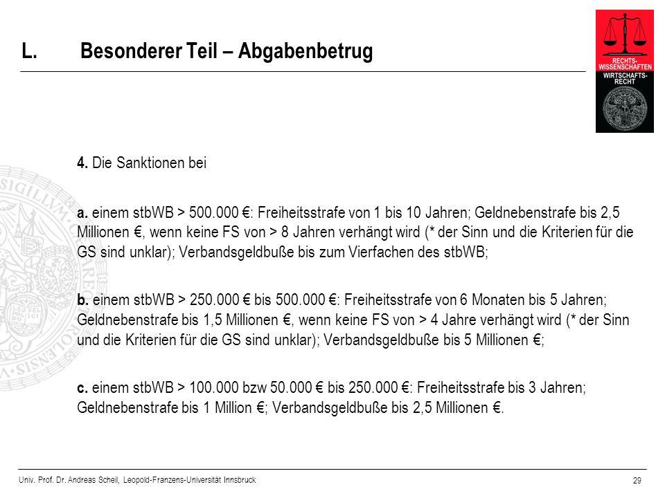 Univ. Prof. Dr. Andreas Scheil, Leopold-Franzens-Universität Innsbruck 29 L.Besonderer Teil – Abgabenbetrug 4. Die Sanktionen bei a. einem stbWB > 500
