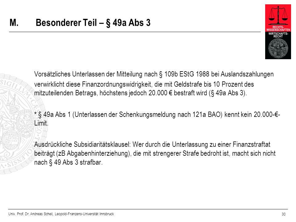 Univ. Prof. Dr. Andreas Scheil, Leopold-Franzens-Universität Innsbruck 30 M.Besonderer Teil – § 49a Abs 3 Vorsätzliches Unterlassen der Mitteilung nac