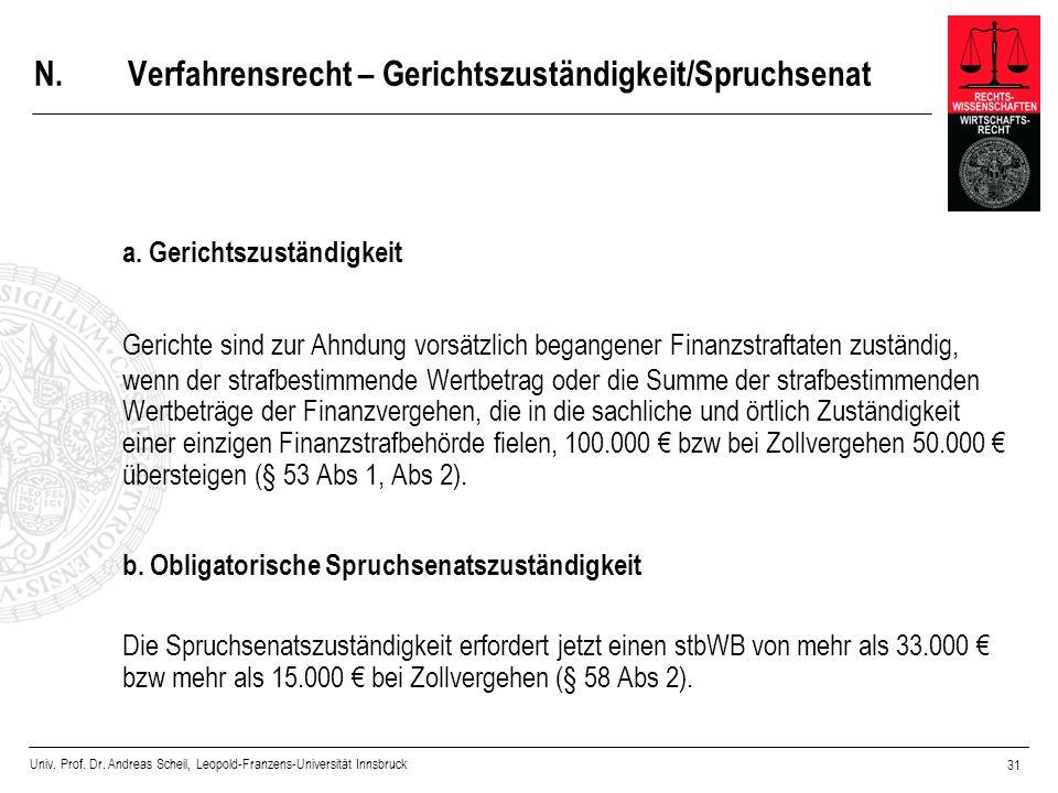 Univ. Prof. Dr. Andreas Scheil, Leopold-Franzens-Universität Innsbruck 31 N.Verfahrensrecht – Gerichtszuständigkeit/Spruchsenat a. Gerichtszuständigke