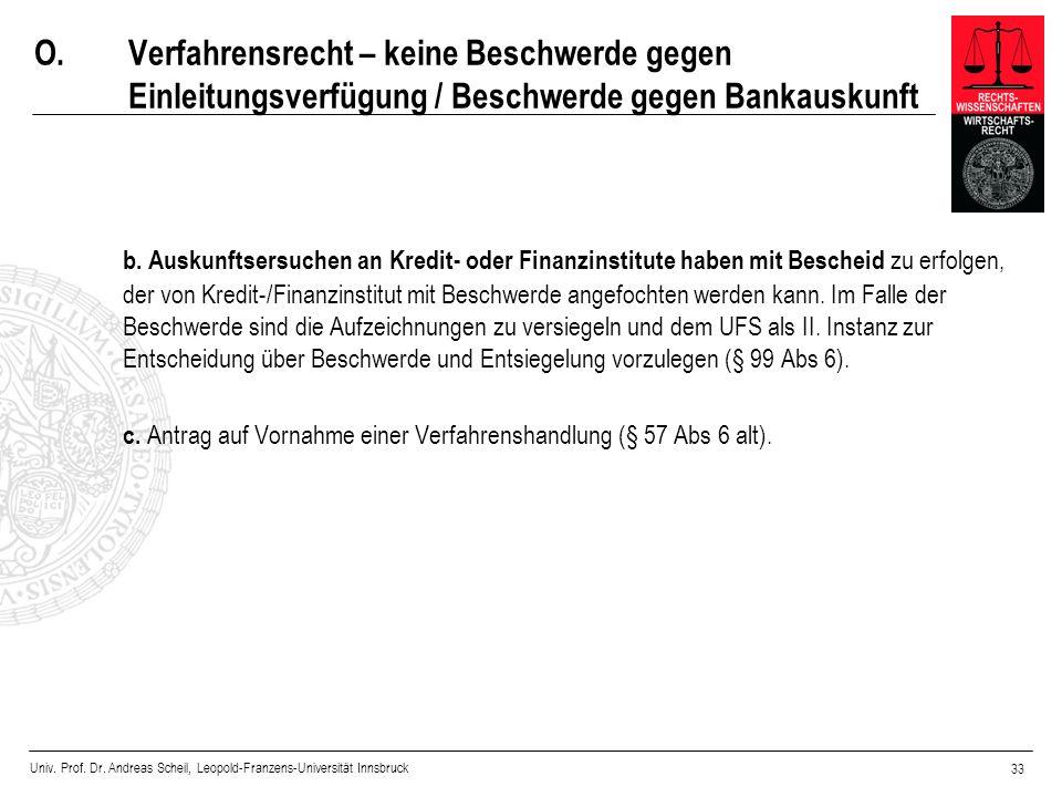 Univ. Prof. Dr. Andreas Scheil, Leopold-Franzens-Universität Innsbruck 33 O.Verfahrensrecht – keine Beschwerde gegen Einleitungsverfügung / Beschwerde
