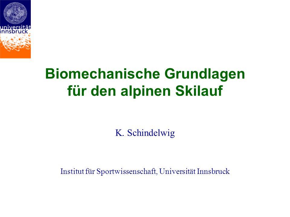 Biomechanische Grundlagen für den alpinen Skilauf K. Schindelwig Institut für Sportwissenschaft, Universität Innsbruck