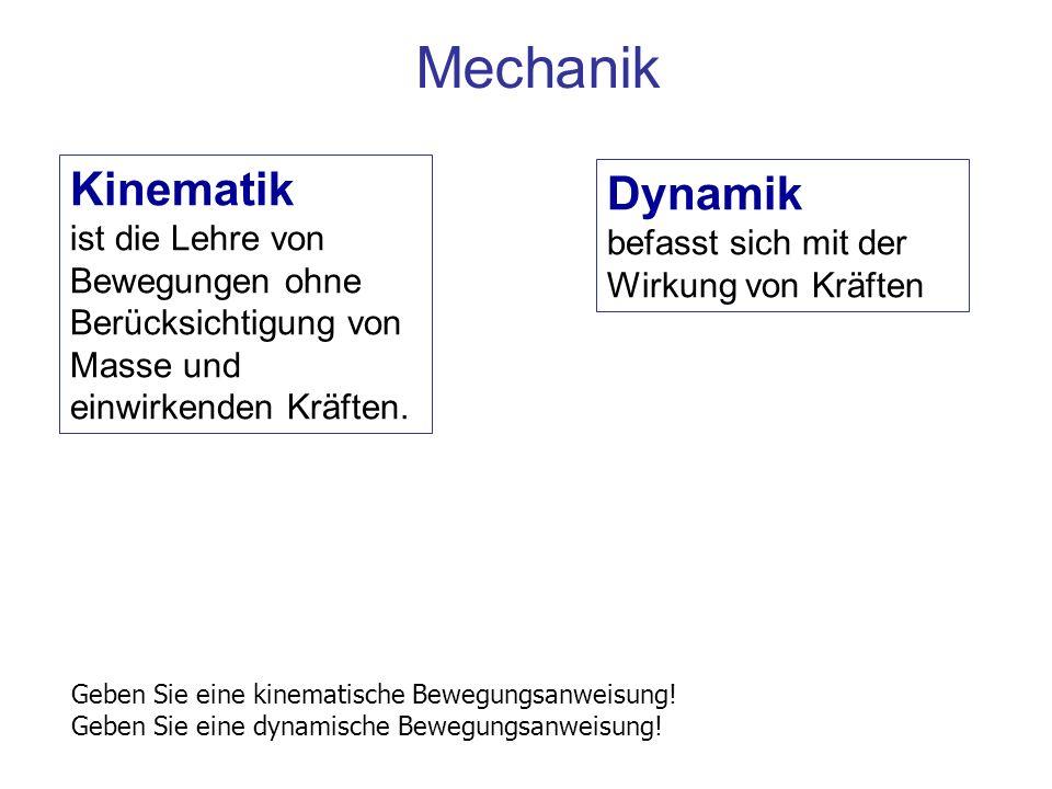 Mechanik Kinematik ist die Lehre von Bewegungen ohne Berücksichtigung von Masse und einwirkenden Kräften. Dynamik befasst sich mit der Wirkung von Krä