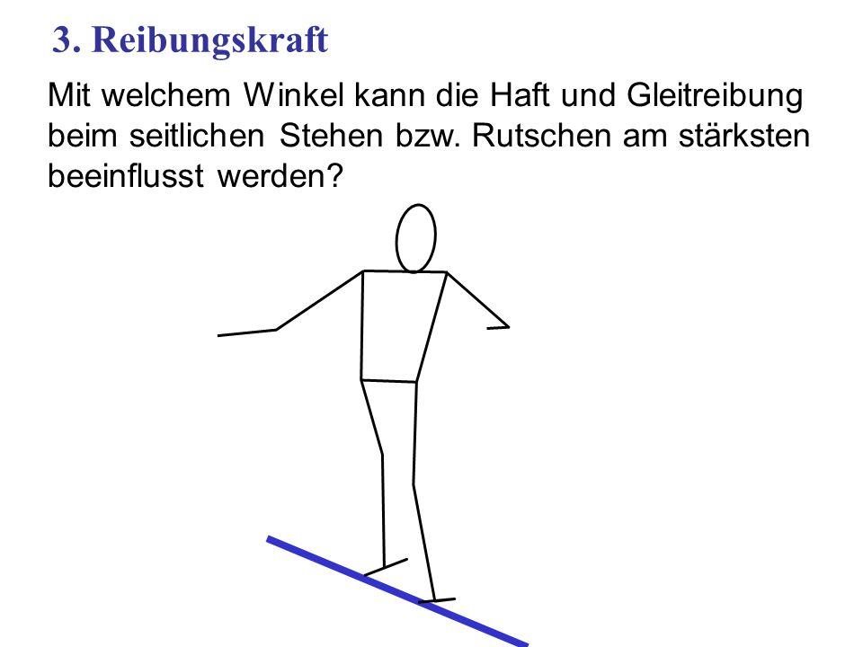 Mit welchem Winkel kann die Haft und Gleitreibung beim seitlichen Stehen bzw. Rutschen am stärksten beeinflusst werden? 3. Reibungskraft