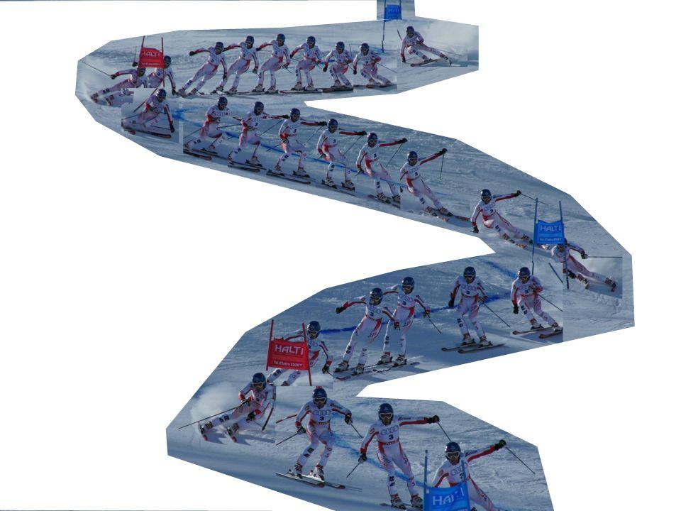 Riesentorlauf – Beschleunigende Kräfte Hangabwärtstreibene Kraft abhängig von der Hangneigung abhängig von der Fahrtrichtung