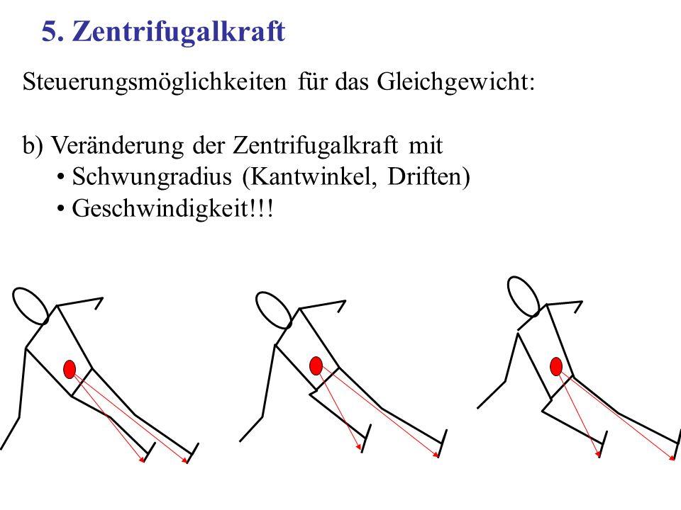 5. Zentrifugalkraft Steuerungsmöglichkeiten für das Gleichgewicht: b) Veränderung der Zentrifugalkraft mit Schwungradius (Kantwinkel, Driften) Geschwi