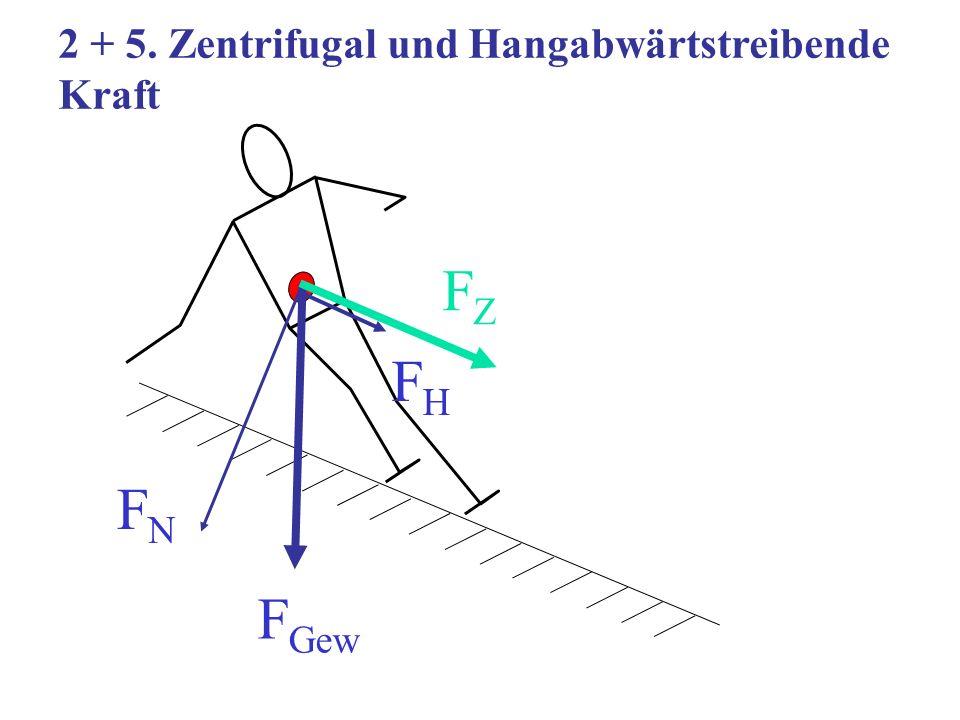 2 + 5. Zentrifugal und Hangabwärtstreibende Kraft F Gew FZFZ FHFH FNFN
