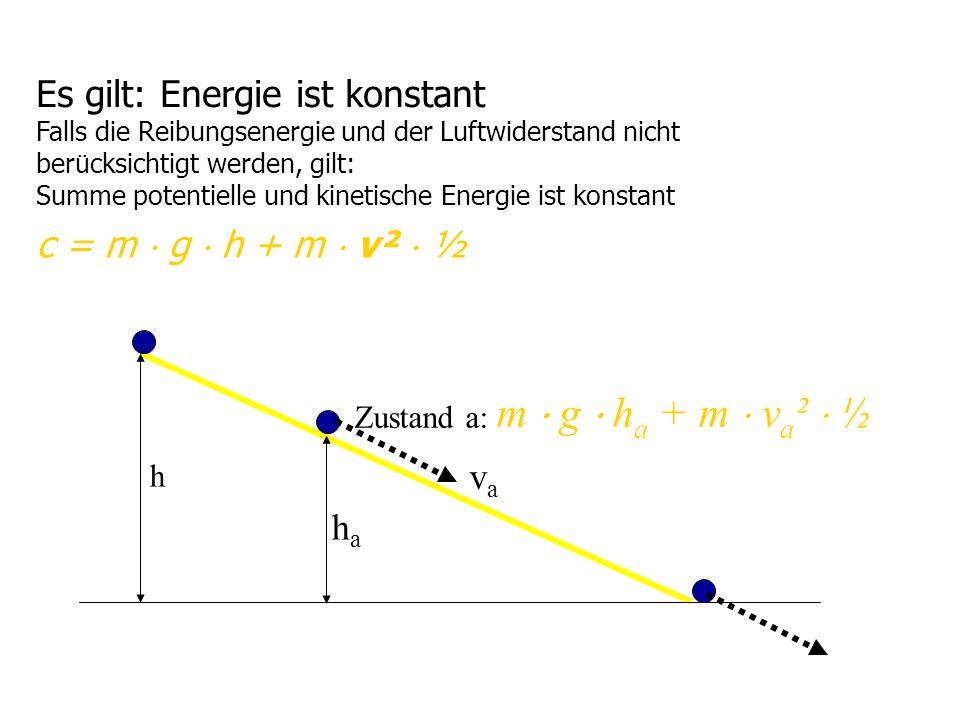 Es gilt: Energie ist konstant Falls die Reibungsenergie und der Luftwiderstand nicht ber ü cksichtigt werden, gilt: Summe potentielle und kinetische E