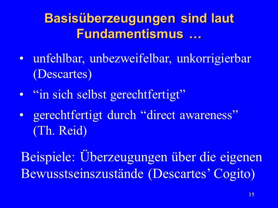 15 Basisüberzeugungen sind laut Fundamentismus … unfehlbar, unbezweifelbar, unkorrigierbar (Descartes) in sich selbst gerechtfertigt gerechtfertigt du