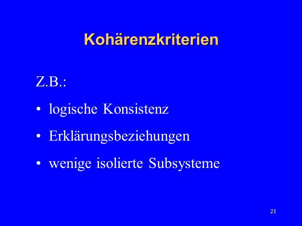 21 Kohärenzkriterien Z.B.: logische Konsistenz Erklärungsbeziehungen wenige isolierte Subsysteme