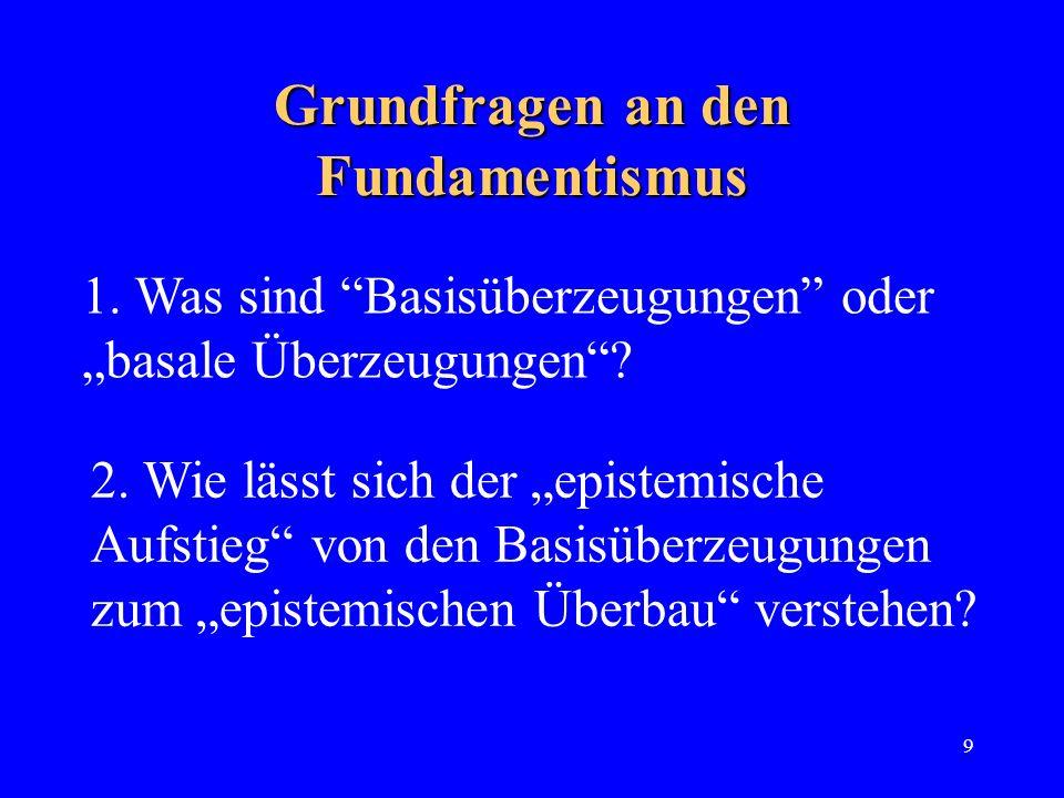 9 Grundfragen an den Fundamentismus 1. Was sind Basisüberzeugungen oder basale Überzeugungen? 2. Wie lässt sich der epistemische Aufstieg von den Basi