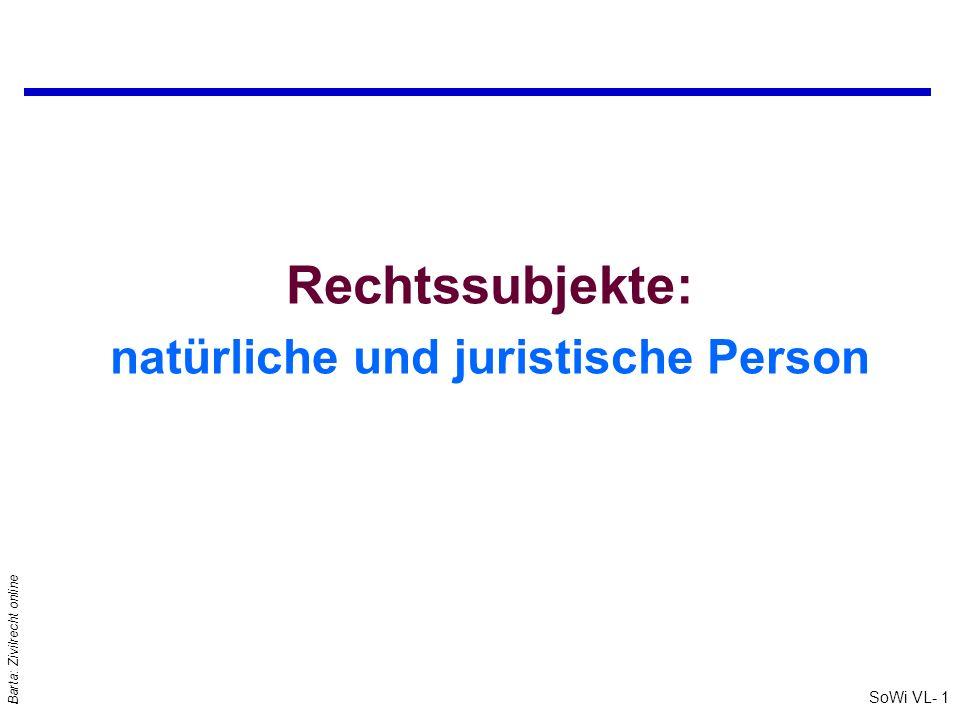 SoWi VL- 1 Barta: Zivilrecht online Rechtssubjekte: natürliche und juristische Person