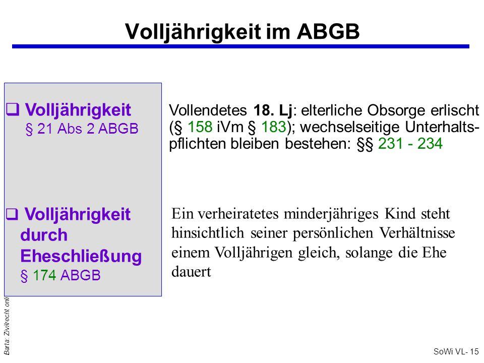 SoWi VL- 15 Barta: Zivilrecht online Volljährigkeit im ABGB Volljährigkeit § 21 Abs 2 ABGB Vollendetes 18. Lj: elterliche Obsorge erlischt (§ 158 iVm